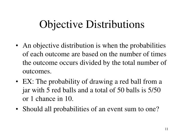Objective Distributions