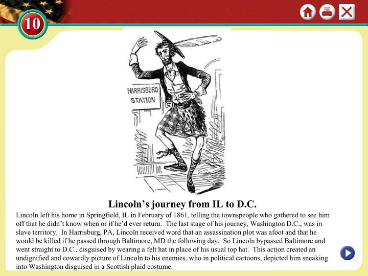 Lincoln's journey from IL to D.C.