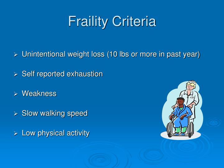 Fraility Criteria