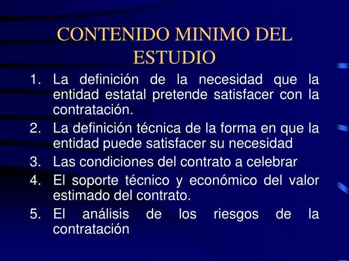 CONTENIDO MINIMO DEL ESTUDIO