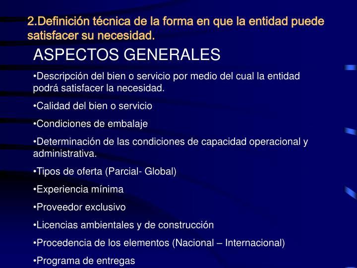 2.Definición técnica de la forma en que la entidad puede satisfacer su necesidad.