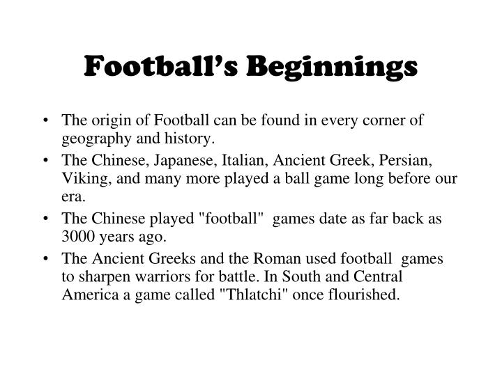 Football's Beginnings