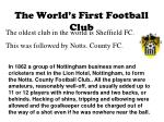 the world s first football club