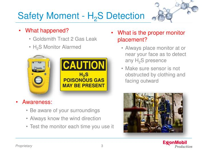 Safety moment h 2 s detection