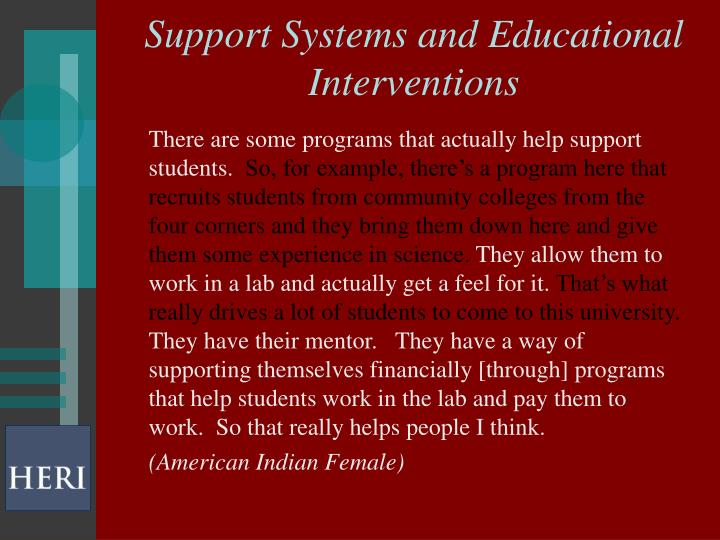 Support Systems and Educational Interventions
