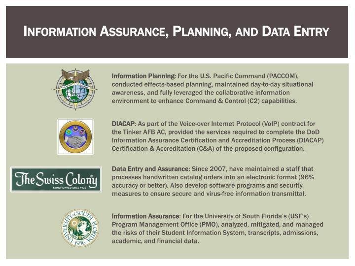 Information Assurance, Planning, and Data Entry