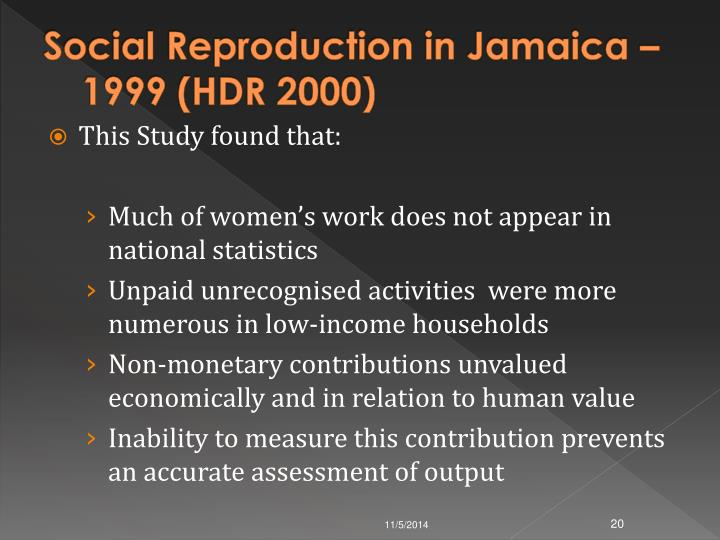 Social Reproduction in Jamaica – 1999 (HDR 2000)