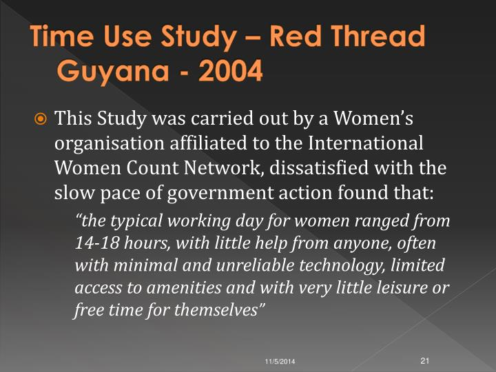 Time Use Study – Red Thread Guyana - 2004