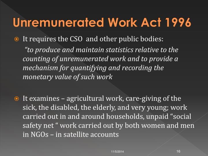 Unremunerated Work Act 1996