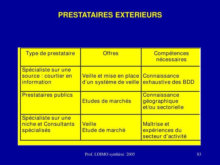 PRESTATAIRES EXTERIEURS