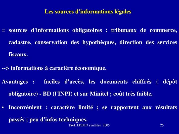 Les sources d'informations légales