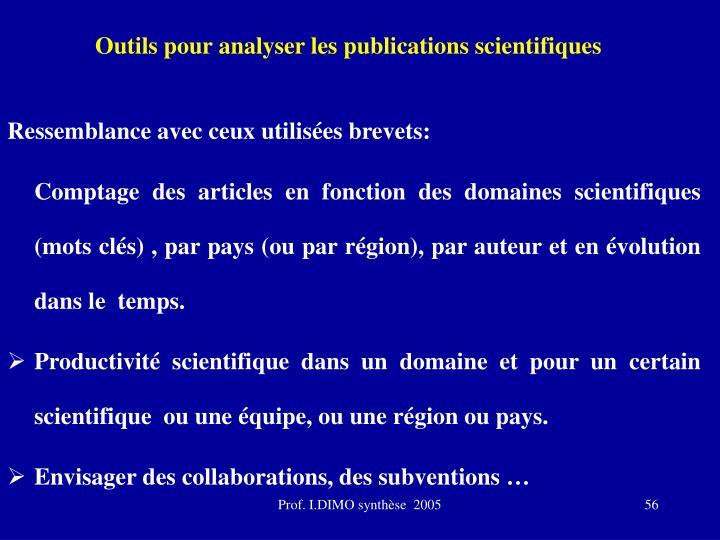 Outils pour analyser les publications scientifiques