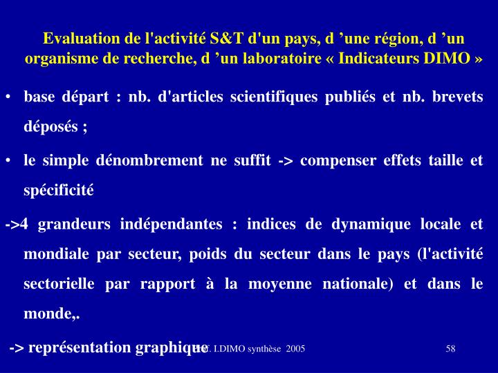 Evaluation de l'activité S&T d'un pays, d'une région, d'un organisme de recherche, d'un laboratoire «Indicateurs DIMO»