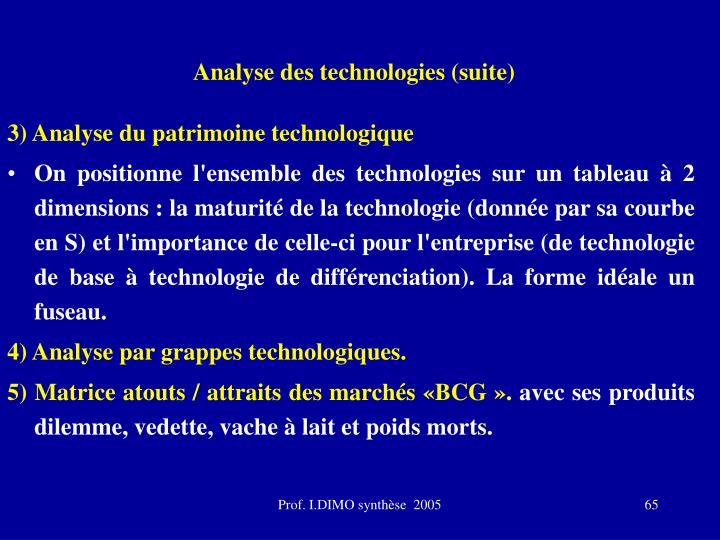 Analyse des technologies (suite)