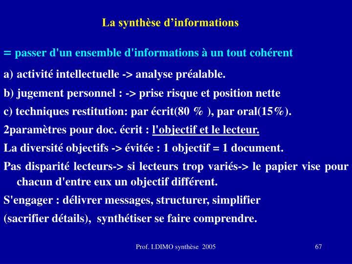 La synthèse d'informations