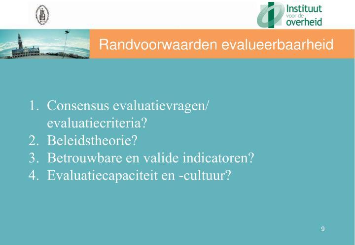 Randvoorwaarden evalueerbaarheid