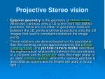 projective stereo vision