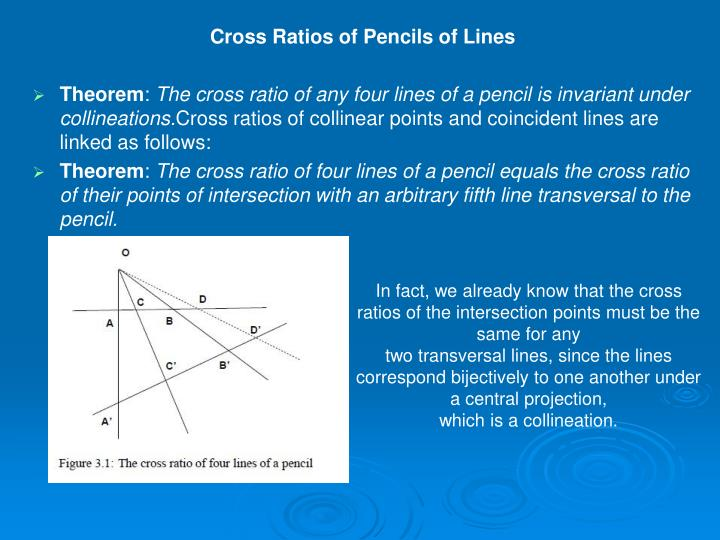 Cross Ratios of Pencils of Lines