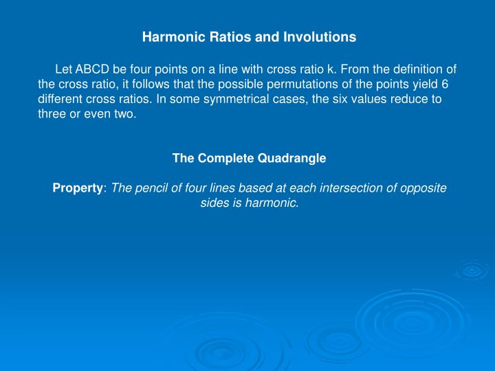 Harmonic Ratios and Involutions