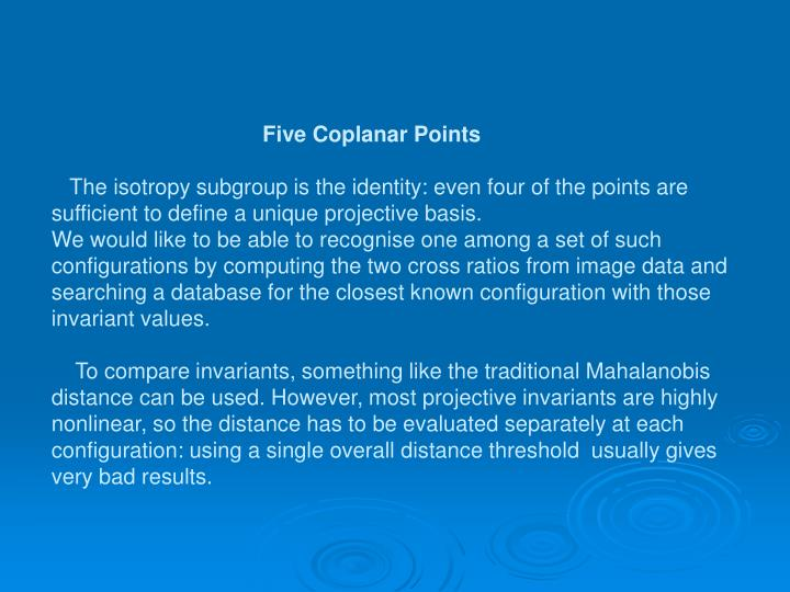 Five Coplanar Points