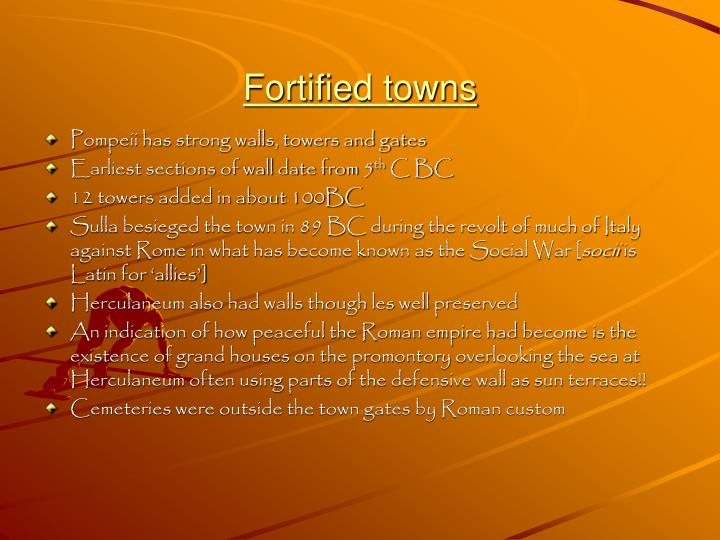 Fortified towns