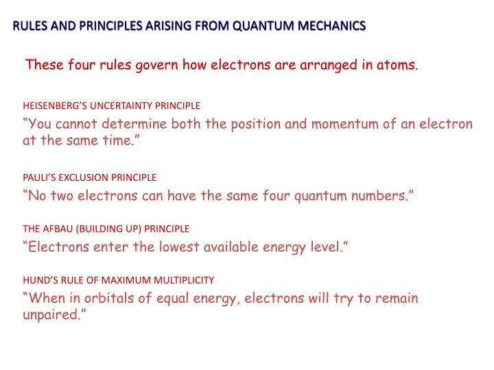 RULES AND PRINCIPLES ARISING FROM QUANTUM MECHANICS