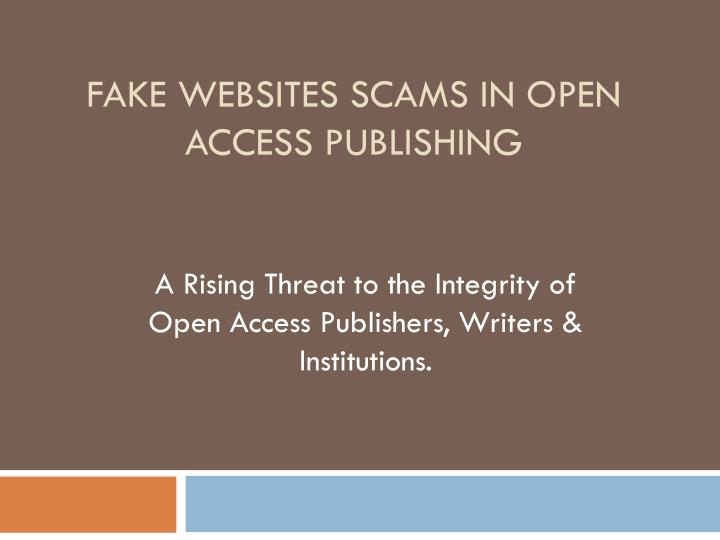 fake websites scams in open access publishing