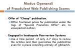 modus operandi of fraudulent web publishing scams1