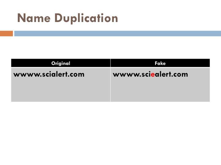 Name Duplication