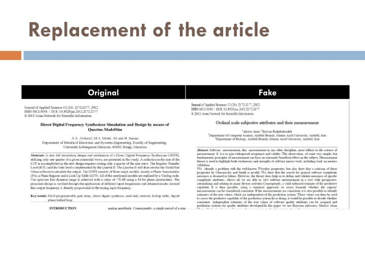 Replacement of the article