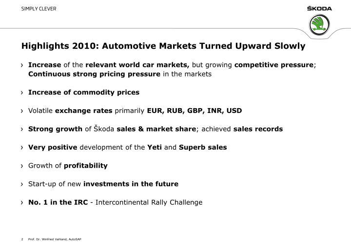 Highlights 2010: Automotive