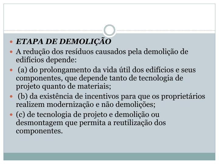 ETAPA DE DEMOLIÇÃO