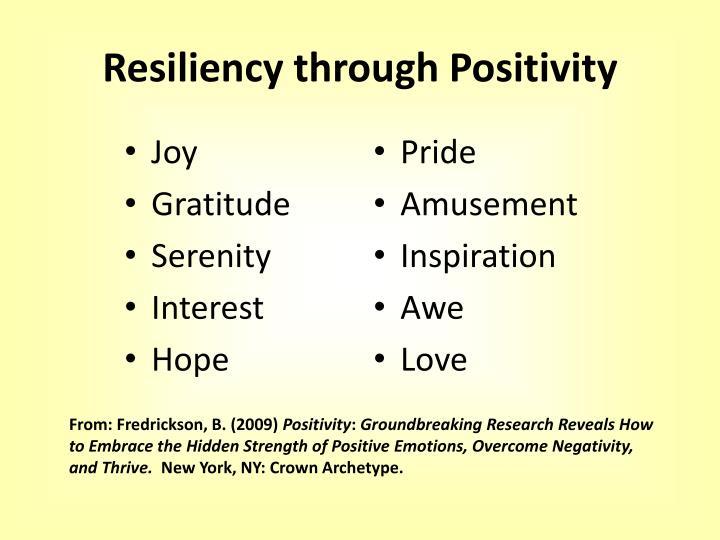 Resiliency through Positivity