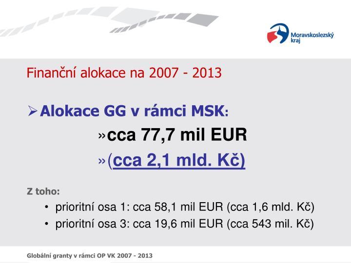 Finanční alokace na 2007 - 2013