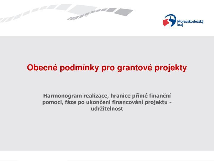 Obecné podmínky pro grantové projekty