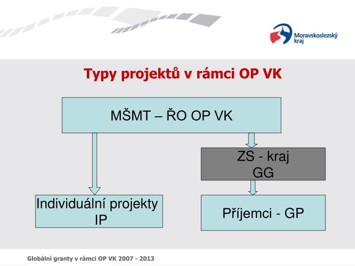 Typy projektů v rámci OP VK