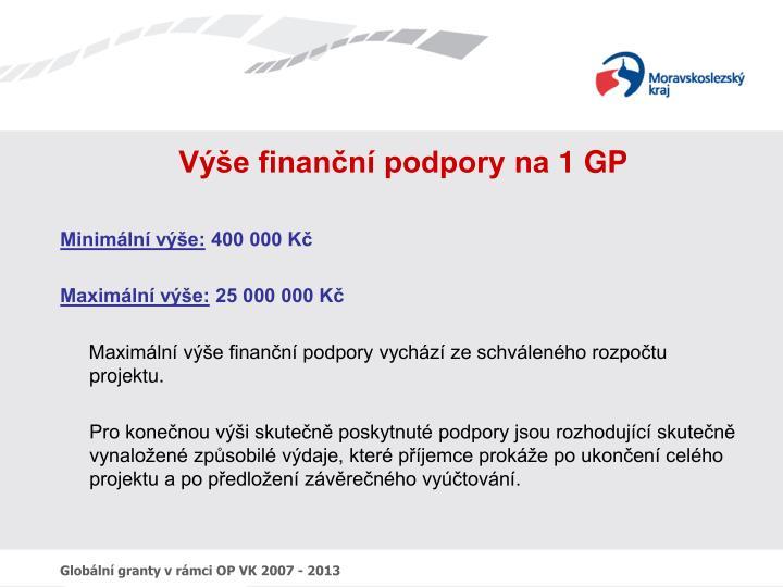 Výše finanční podpory na 1 GP