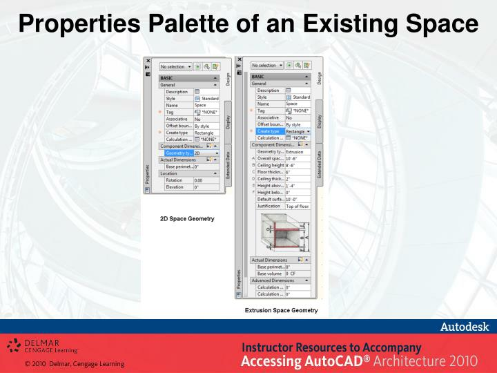 Properties Palette of an Existing Space