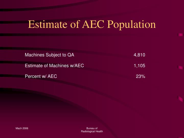 Estimate of AEC Population