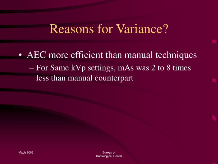 Reasons for Variance?