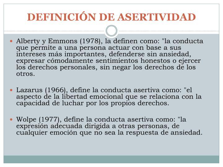 DEFINICIÓN DE ASERTIVIDAD