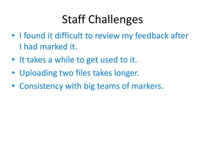 Staff Challenges