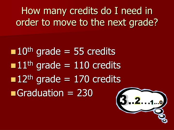 How many credits do I need in order to move to the next grade?