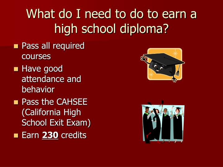 What do I need to do to earn a high school diploma?