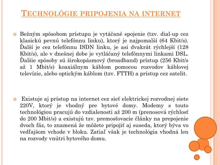 Technológie pripojenia na internet