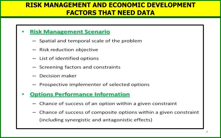 RISK MANAGEMENT AND ECONOMIC DEVELOPMENT