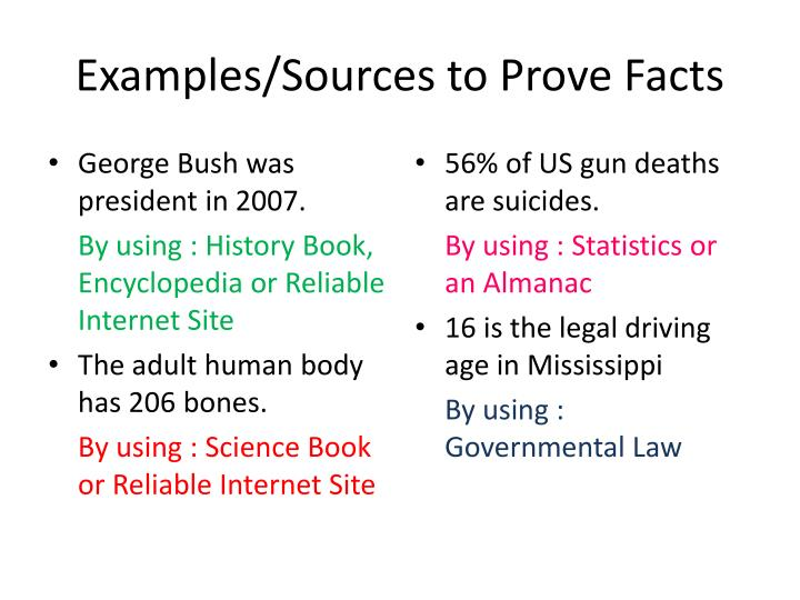 Examples sources to prove facts