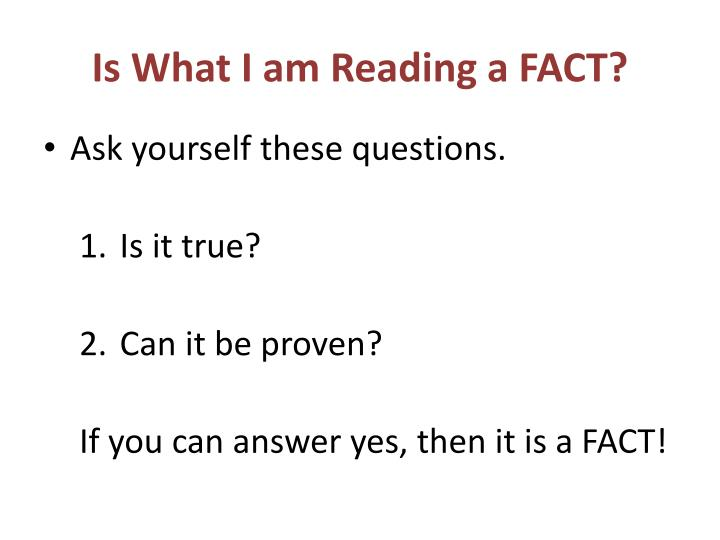 Is what i am reading a fact