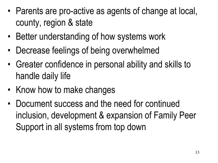Parents are pro-active as agents of change at local, county, region & state