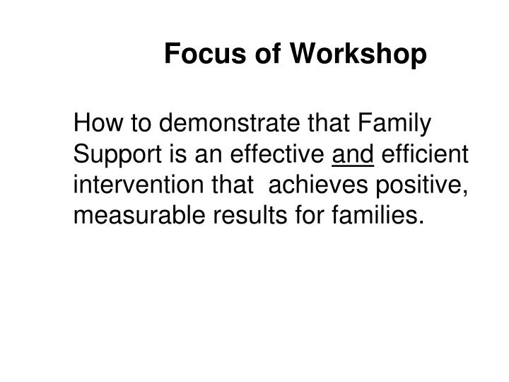 Focus of Workshop